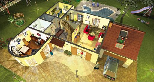 3d huis en tuin transposia for Huis maken 3d